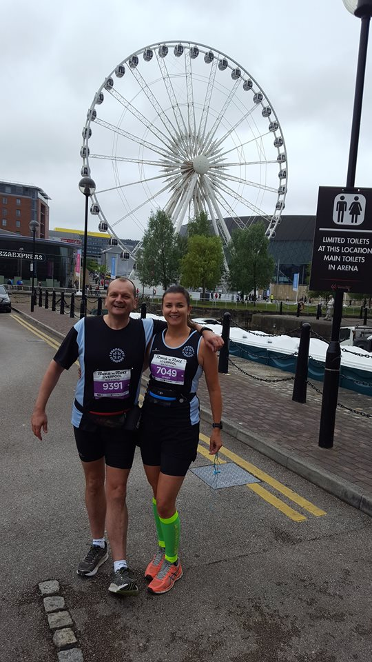 Paul Nicholls and Lynsey Astle at Liverpool Rock n Roll Marathon