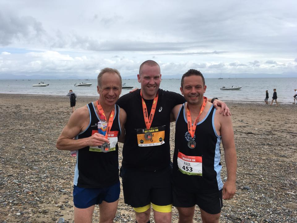 Tony Taylor, Tom Brunt and Paul Barnett at Abersoch 10k