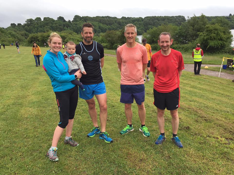 Gillian Fallows, Colin Dalton, Mick Hutchins, and Andy Thomas at Congleton parkrun