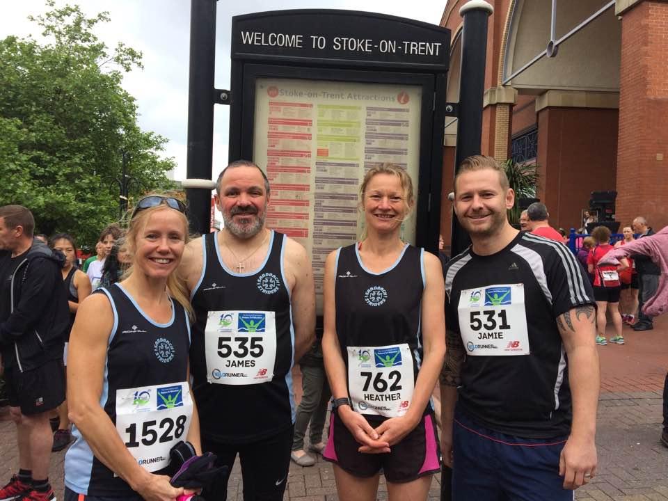 Jane Pyatt, James, Boon, Heather Carter and Jamie Matthias at the Potters Half Marathon