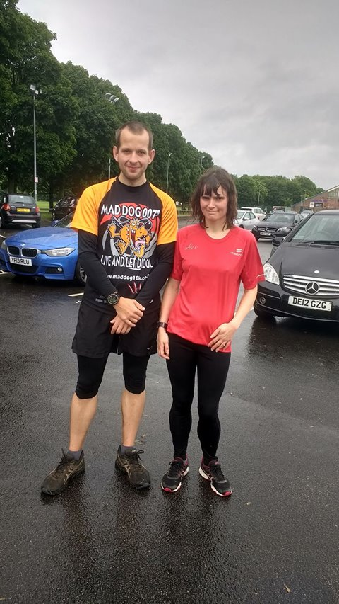 Steve Mclean and Lisa Highfield at Warrington parkrun