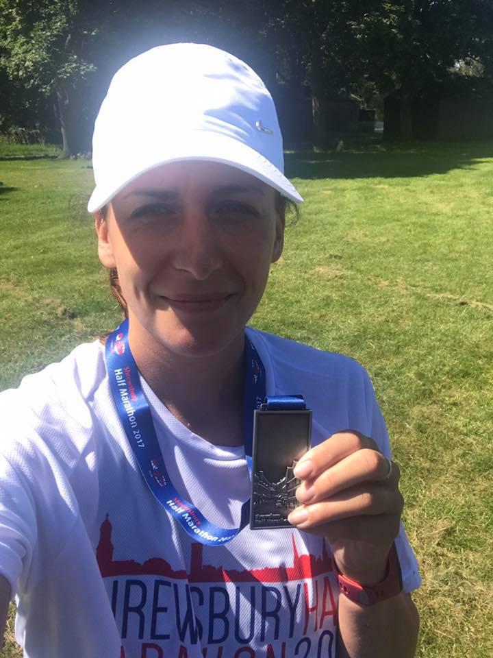 Kim Farall at the Shrewsbury Half Marathon
