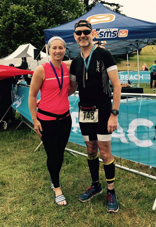 Gaynor and Gareth at the Cholmondeley Triathlon