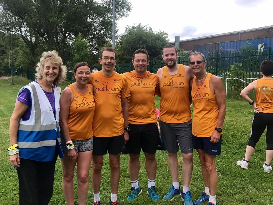 Paul Barnett with friends at Burnage parkrun