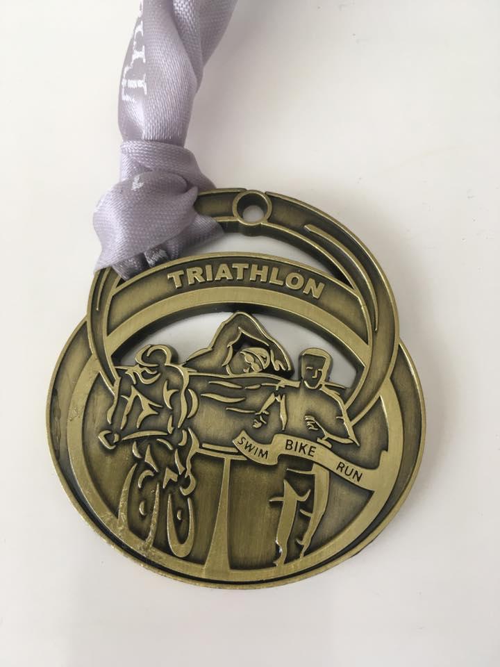 Colin Daltons Medal from Chichester Spritn Triathlon