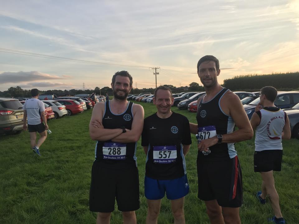 David Sharp, Andy Thomas, and Darren Varley at the Mid Cheshire 5k